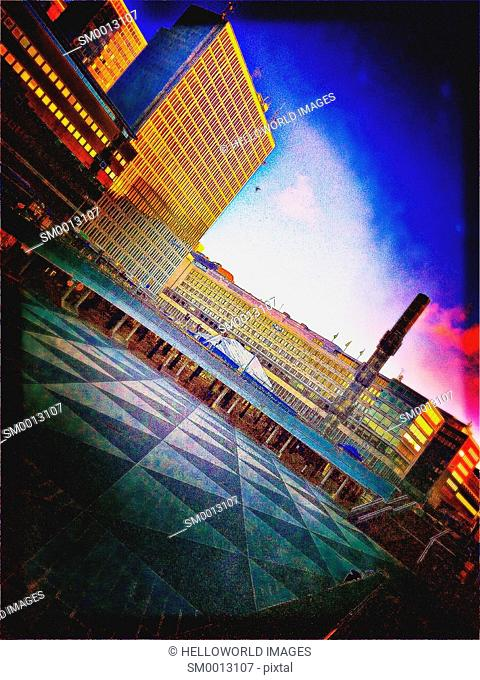 Sergels Torg (square) and its sunken pedestrian plaza with distinctive triangular pattern, Stockholm, Sweden, Scandinavia