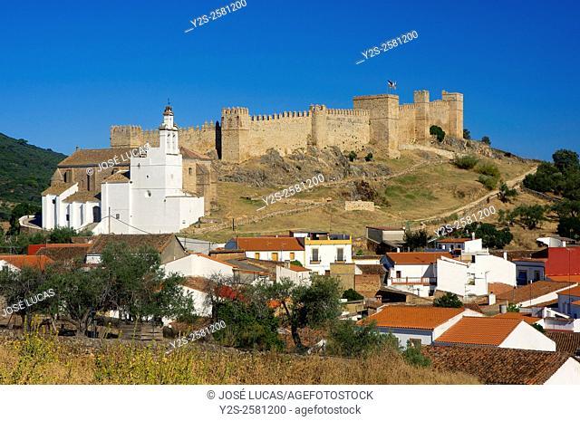 Urban view with Castle-Fortress of Sancho IV (13th century), Santa Olalla de Cala, Huelva province, Region of Andalusia, Spain, Europe