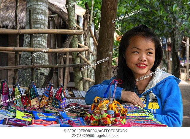 Hmong and Khmu children selling souvenirs near Luang Prabang Laos