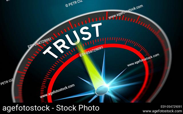Modern virtual speedometer with text trust. Business concept blurred background in high speed