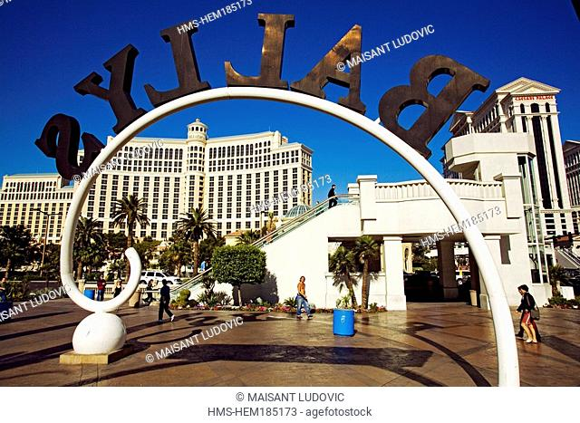 United States, Nevada, Las Vegas, The Strip, Bellagio and Ceasars Palace, Casino and Hotel seen from Bally's Hotel