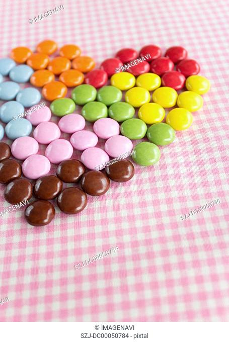 Heart-shaped chocolate marbles