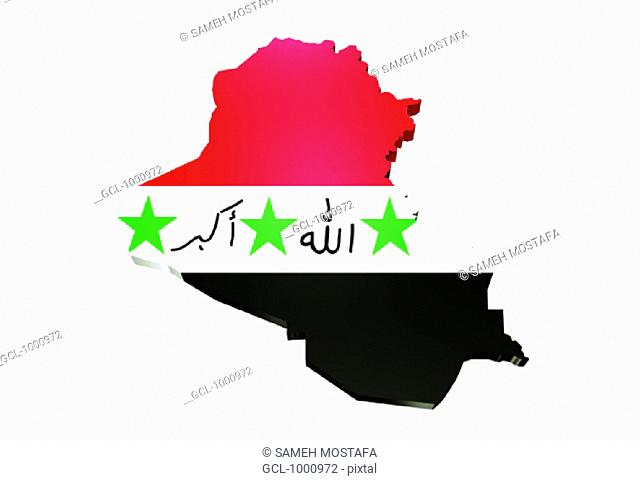 map and flag of Iraq