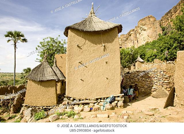 Dogon Country. Mali. Yabatalou village. Barns erected with wood and adobe. The walls of the Bandiagara escarpment can be seen in the right background