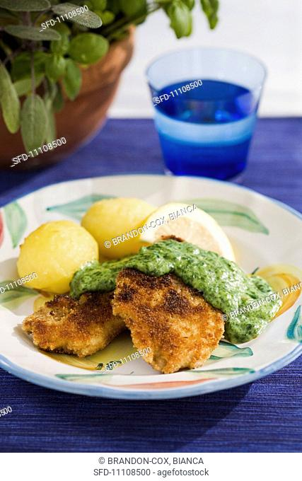Fried whitefish with a herb sauce Scandinavia