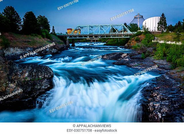 Spokane Falls and the Howard Street Bridge in Spokane, Washington