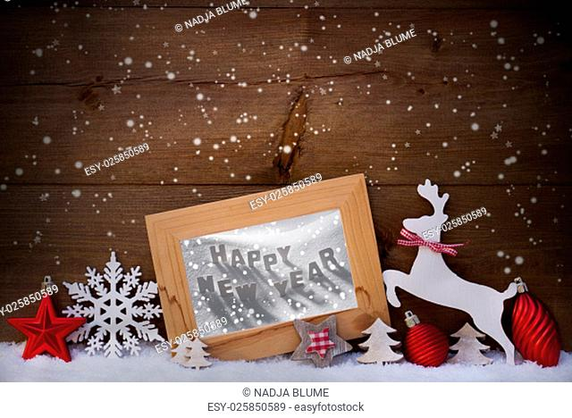 Christmas Card With Picture Frame On Snow. Englisch Text Happy New Year. Red Christmas Decoration Like Christmas Ball, Snowflakes, Tree, Star And Reindeer