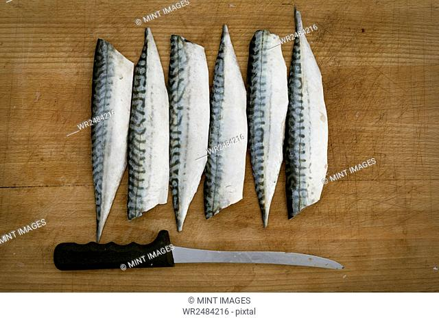 Fresh Mackerel fillets and a knife on a chopping board