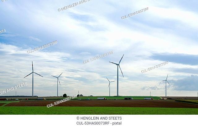 Wind turbines in rural landscape
