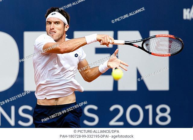 28 July 2018, Germany, Hamburg: Tennis ATP-Tour German Open, semi final, singles, men in the tennis stadium at Rothenbaum