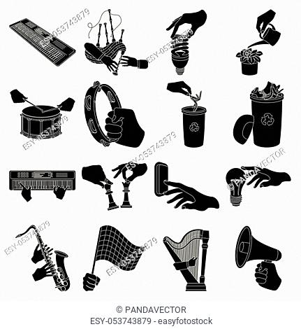 Musical instrument, garbage and ecology, electric appliance and other icon in black style. Megaphone, finishing checkered flag