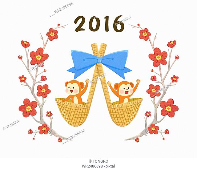 New year 2016 with two monkeys in lucky bags and flowers