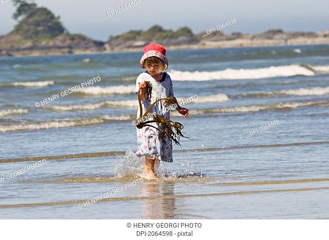 Young Girl Examines Piece Of Kelp Found On Beach, Chesterman Beach, Tofino, British Columbia, Canada