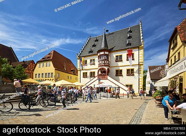 Town Hall at the market square in Volkach, Lower Franconia, Bavaria, Germany
