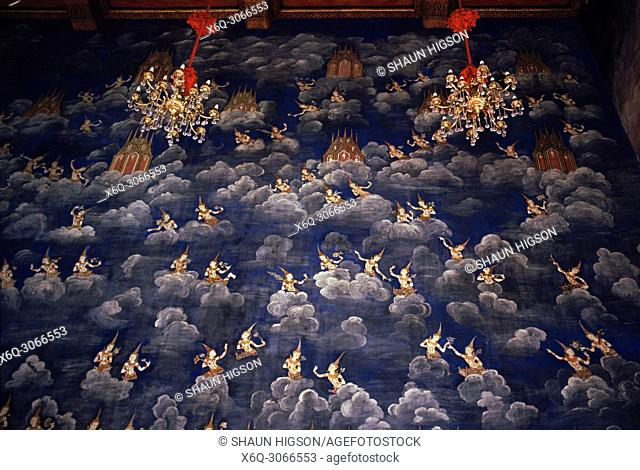 Angels in the fresco in the ubosot of Wat Thewa Ratchakunchon in Bangkok in Thailand in Southeast Asia Far East