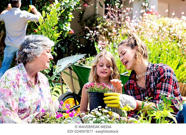 Grandmother, mother and daughter gardening together