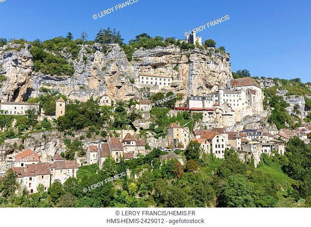 France, Lot, Rocamadour, Camino de Santiago stopping place, the village
