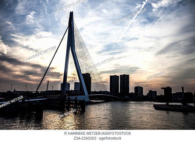 Sunset skyline of the Erasmus Bridge Rotterdam, the Netherlands