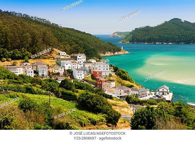 Village and estuary, O Porto do Barqueiro, Mañon, La Coruña province, Region of Galicia, Spain, Europe