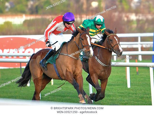 Action from Leopardstown St Stephen's day racing meeting Featuring: Sparky Stowaway (17) holds off Banksoftheshannon (22) on its way to winning the 1