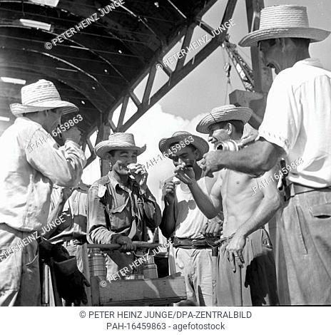 Farm workers take a coffee break on a field near Havana during the sugar cane harvest, photographed in 1962. Photo: Heinz Junge. - Holguin/Cuba