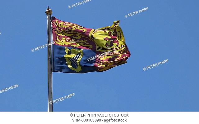 Queens Royal Standard Official Flag, flying at Buckingham Palace London
