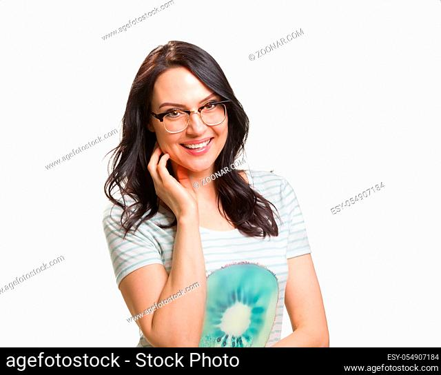Portrait of a young fashionable woman in a eyeglasses, isolated on white background