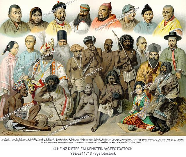 Historical illustration, 19th Century, ethnic groups of Asia,