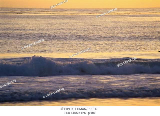 Waves crashing on a beach