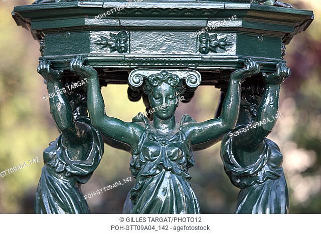 tourism, France, paris 14th arrondissement, place denfert rochereau, denfert rochereau square, detail of the wallace fountain