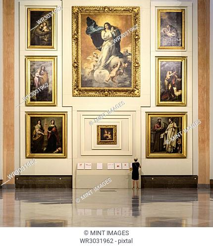 The major art museum gallery displaying Spanish religious artworks, oil paintings in the Museo de Bellas Artes, Seville