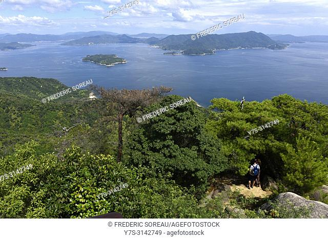 Seto inland Sea in Japan as seen from Mt. Misen on Itsukushima island,Japan,Asia