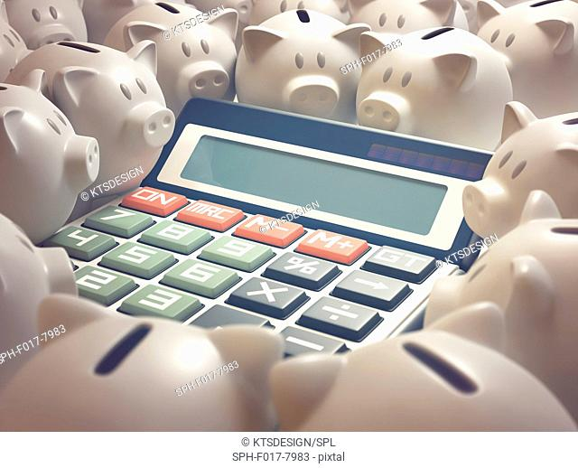 Calculator with the word help and piggy banks, illustration