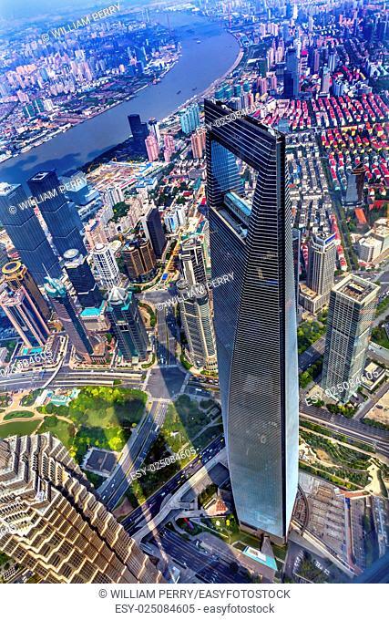 Looking Down on Black Shanghai World Financial Center Skyscraper Reflections Huangpu River Cityscape Liujiashui Financial District Shanghai China