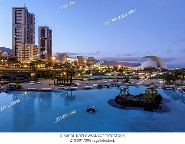 Skyline of the city with Torres de Santa Cruz, Auditorium Adan Martin and Parque Maritimo Cesar Manrique, twilight, Santa Cruz de Tenerife, Tenerife Island