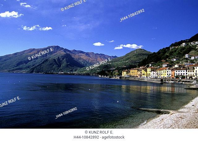 Italy, Europe, Lake Como, town, Gravedona, Domaso village, Dongo village, Monte Bregagno, mountain, mountains, lake, w