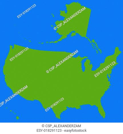 Stencil silhouette map of USA