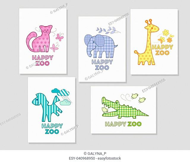 African exotic animal vector illustration. Cute childish style patchwork image for card, applique, decor
