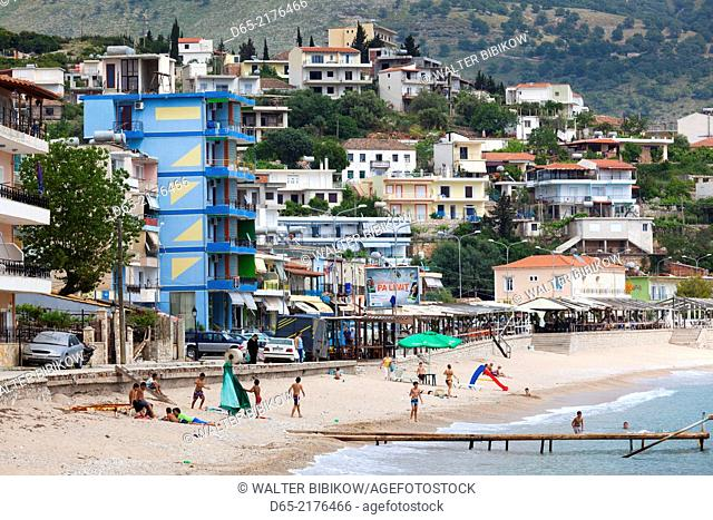Albania, Albanian Riviera, Himara, elevated beach view