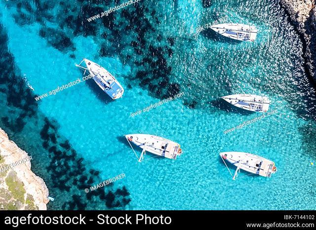 Aerial view, Cala Sa Nau, near Cala d'Or, with beaches and sailing boats Migjorn region, Majorca, Balearic Islands, Spain, Europe