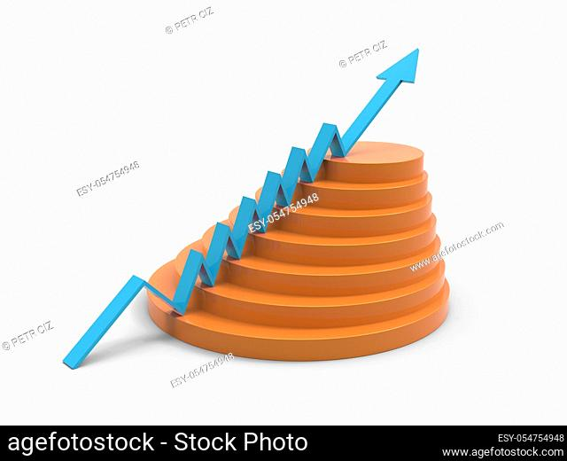 Blue arrow business progress marketing graph