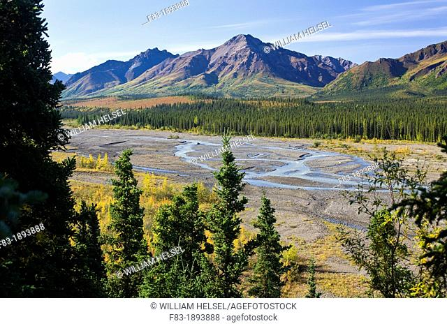 Teklanika River and mountains seen from the Teklanika River overlook beside Park Road, Denali National Park, Alaska, USA, late August