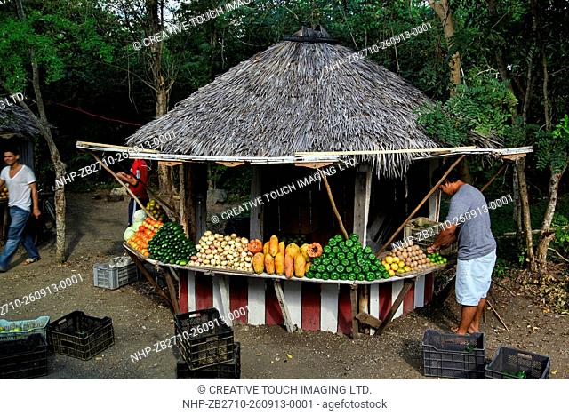 Government regulated roadside fruit stand near Holguin City in Cuba
