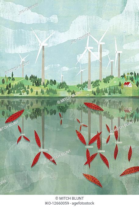 Wind turbine blades reflected as leaves in lake