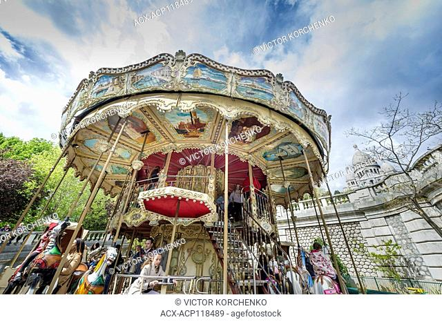 Traditional carousel on Montmartre