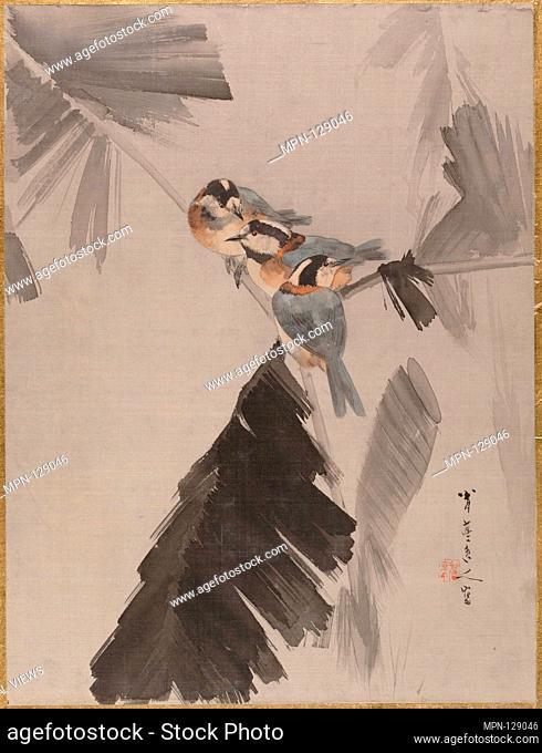 Three Birds on Branch. Artist: Watanabe Seitei (Japanese, 1851-1918); Period: Meiji period (1868-1912); Date: ca. 1887; Culture: Japan; Medium: Album leaf; ink...