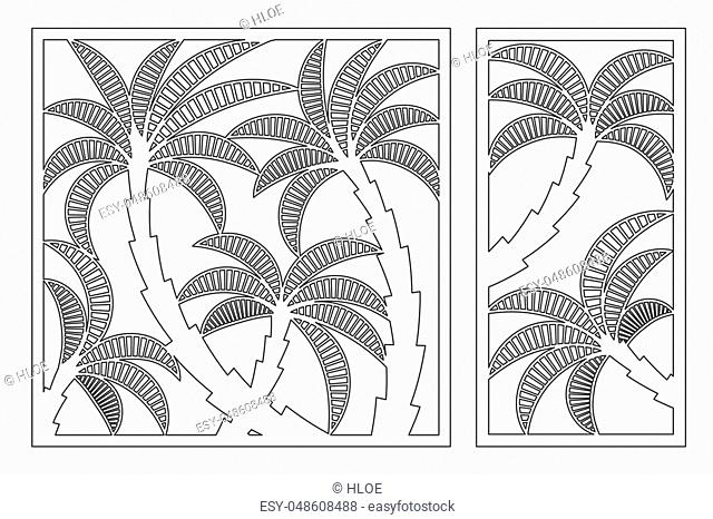 Set decorative card for cutting. Palm leaf pattern. Laser cut panel. Ratio 1:1, 1:2. Vector illustration