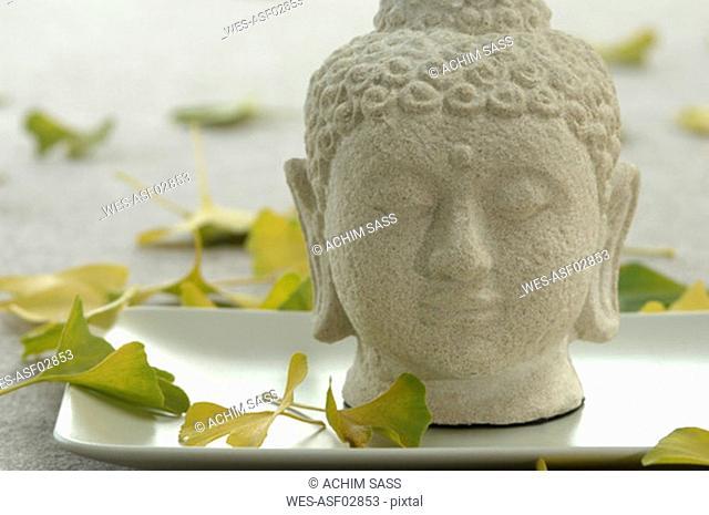 Buddha head on tray, close-up