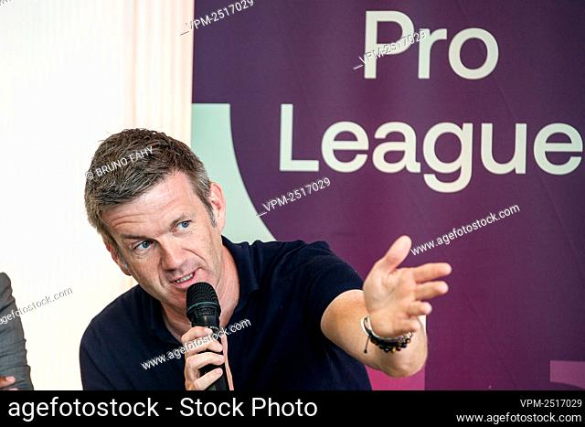 TV commentator Filip Joos pictured during a press conference to present the 'home of Football' and the 2020-2021 season calendar by the Jupiler Pro League and...