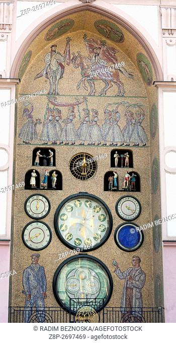 The astronomical clock from the 15th century. Its current form is the spirit of socialist realism. Olomouc, South Moravia, Czech Republic